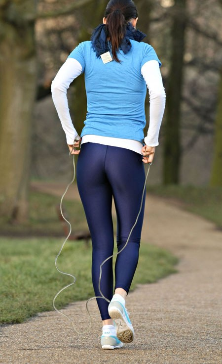 In Tight Pants Girls Practicing Jogging