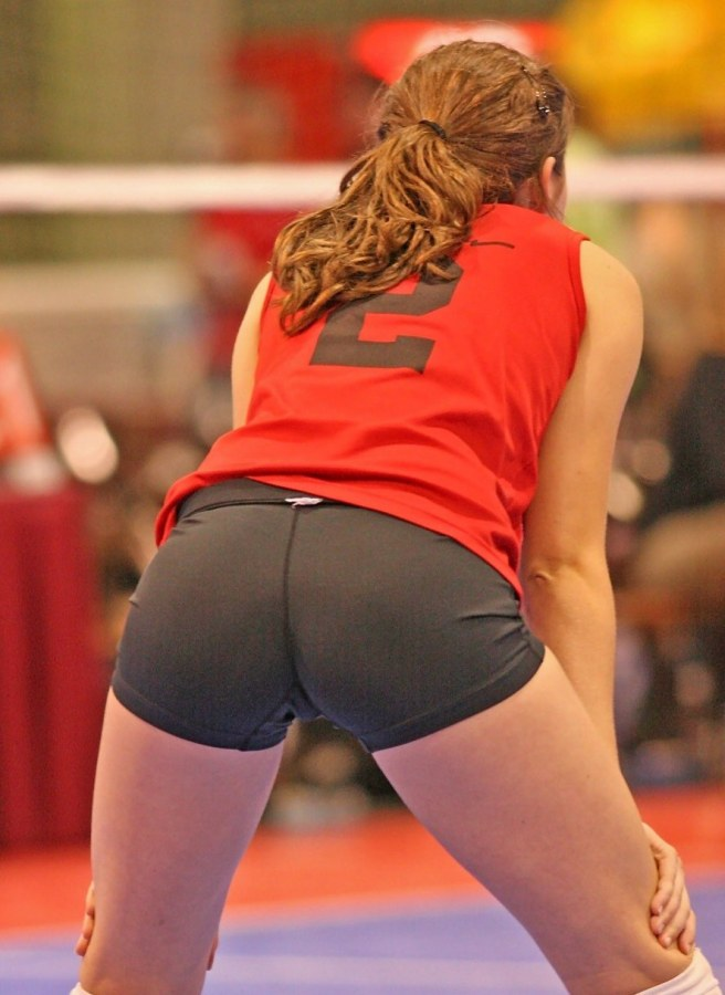 Volleyball player in tight spandex short shorts