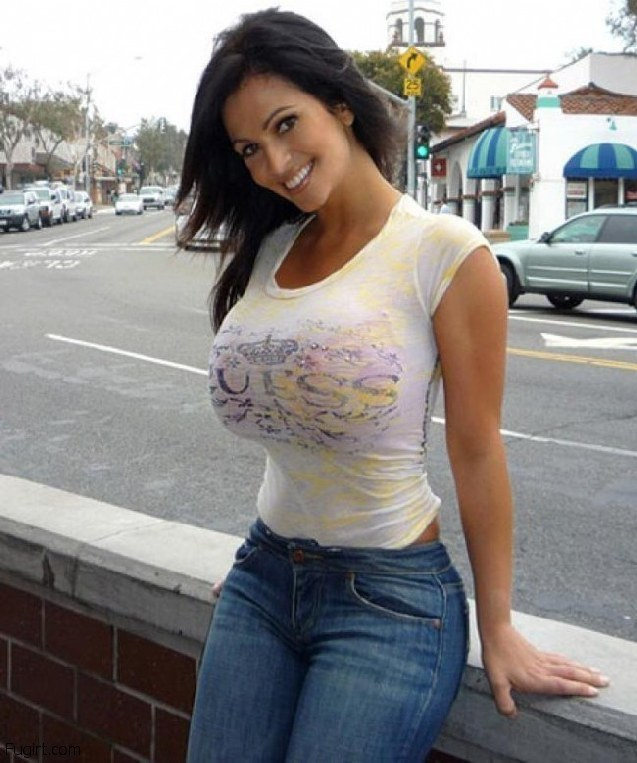 Photos of women in tight t-shirts