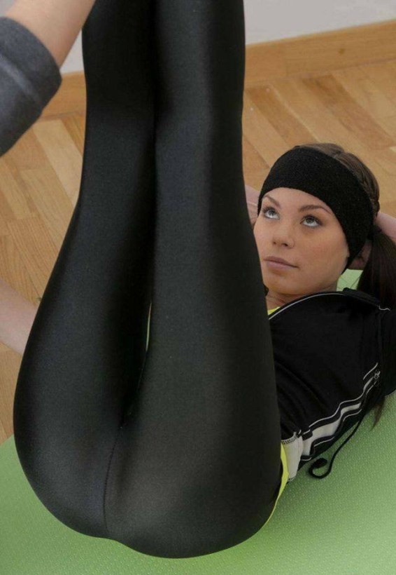 Hot Ladies Wearing Shiny Spandex Pants-6486